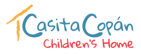 Yellow, blue and red logo for Casita Copan, a non-profit preventing child abandonment in Honduras.