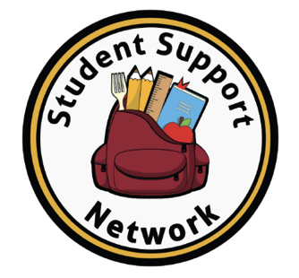 Logo for the Student Support Network as part of TPCs Alternate Gift Market with a circular logo and book bag.