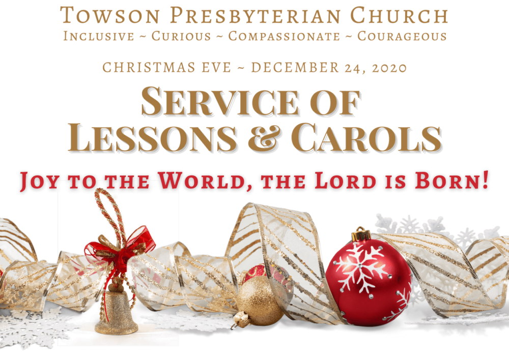 TPC's Service of Lessons and Carols graphic with gold lettering and Christmas ornaments below.